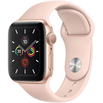 Apple Watch Series 5 GPS 40mm Gold Aluminum Case with Pink Sand Sport Band (MWV72RU) - фото 22228