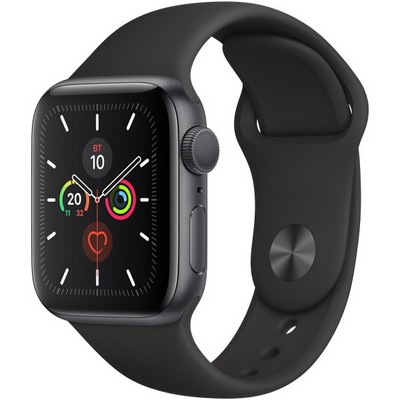 Apple Watch Series 5 GPS 40mm Space Gray Aluminum Case with Black Sport Band (MWV82RU) - фото 22234