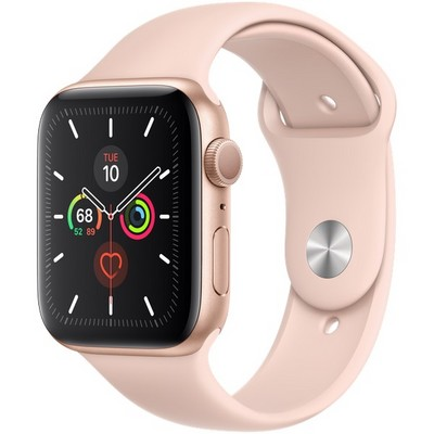Apple Watch Series 5 GPS 44mm Gold Aluminum Case with Pink Sand Sport Band (MWVE2) - фото 22341