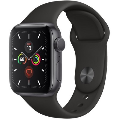Apple Watch Series 5 GPS 40mm Space Gray Aluminum Case with Black Sport Band (MVW82) - фото 22411