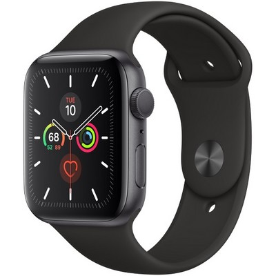 Apple Watch Series 5 GPS 44mm Space Gray Aluminum Case with Black Sport Band (MWVF2) - фото 22435