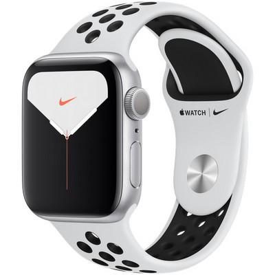 Apple Watch Nike Series 5 GPS 40mm Silver Aluminum Case with Pure Platinum/Black Nike Sport Band (MX3R2RU) - фото 23032