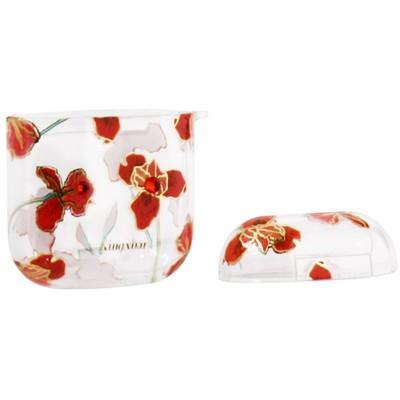 Чехол пластиковый Kingxbar для AirPods 2 со стразами Swarovski Красные цветы - фото 23472