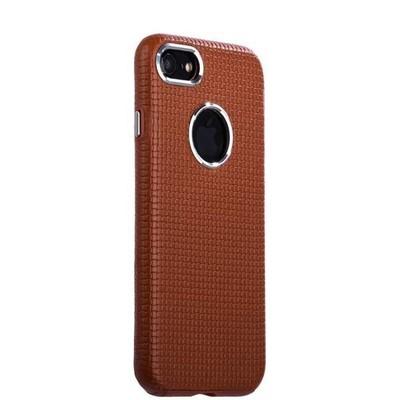 Накладка кожаная i-Carer для iPhone 8/ 7 (4.7) Transformer Real Leather Woven Pattern Back Cove (RIP710br) Коричневая - фото 28595