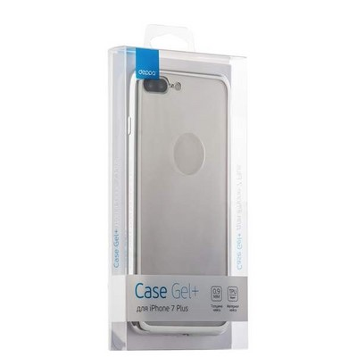 Чехол-накладка силикон Deppa Gel Plus Case D-85259 для iPhone 8 Plus/ 7 Plus (5.5) 0.9мм Серебристый глянцевый борт - фото 30093