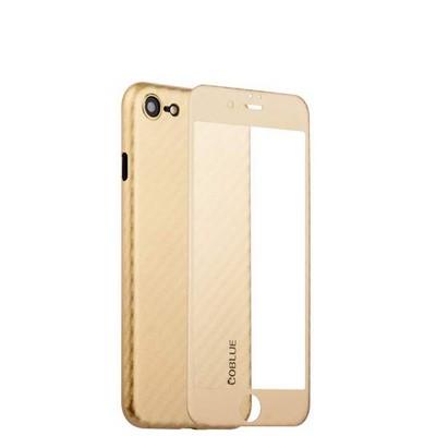 Чехол-накладка карбоновая Coblue 4D Glass & Carbon Case (2в1) для iPhone SE (2020г.)/ 8/ 7 (4.7) Золотистый - фото 30238