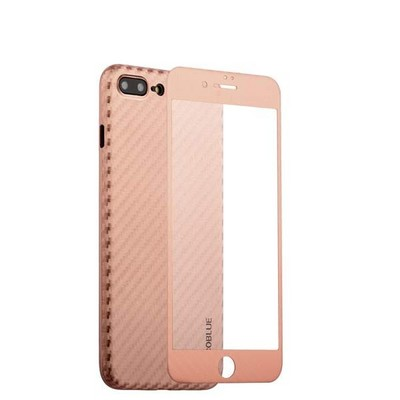"Чехол-накладка карбоновая Coblue 4D Glass & Carbon Case (2в1) для iPhone 8 Plus/ 7 Plus (5.5"") Розовый - фото 30243"