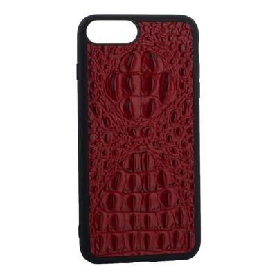 """Накладка кожаная Vorson под крокодила для iPhone 8 Plus/ 7 Plus (5.5"""") силиконовый борт Красная - фото 30892"""