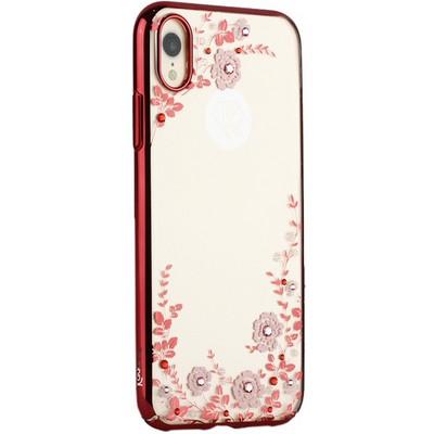 "Чехол-накладка KINGXBAR для iPhone XR (6.1"") пластик со стразами Swarovski 49F (розовые цветы) красный - фото 31054"