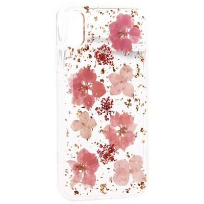 "Чехол-накладка силиконовая K-Doo Flowers TPU+Dried Flowers+Lucite для Iphone XR (6.1"") Розовая - фото 32351"