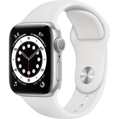 Apple Watch Series 6 GPS 40mm Silver Aluminum Case with White Sport Band (MG283RU/A) - фото 31931
