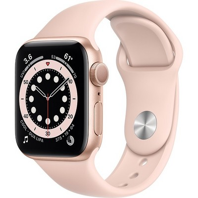 Apple Watch Series 6 GPS 40mm Gold Aluminum Case with Pink Sand Sport Band (MG123RU/A) - фото 31934