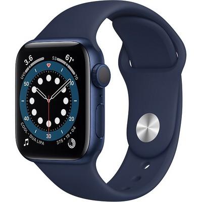 Apple Watch Series 6 GPS 40mm Blue Aluminum Case with Deep Navy Sport Band (MG143RU/A) - фото 31940
