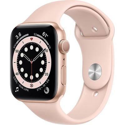 Apple Watch Series 6 GPS 44mm Gold Aluminum Case with Pink Sand Sport Band (золотистый/розовый песок) (M00E3) - фото 38523