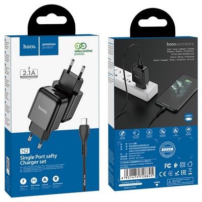 Адаптер питания Hoco N2 Vigour single port charger с кабелем MicroUSB (USB: 5V max 2.1A) Черный - фото 37430