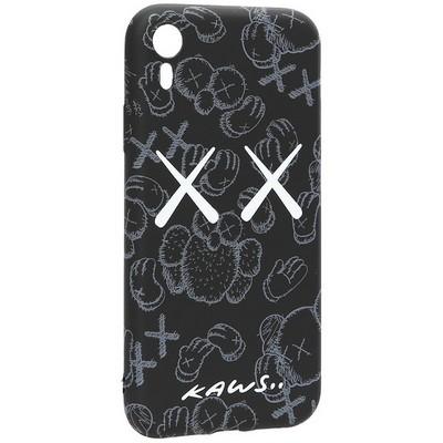 "Чехол-накладка силикон Luxo для iPhone XR (6.1"") 0.8мм с флуоресцентным рисунком KAWS Черный KS-23 - фото 40233"