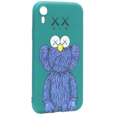 "Чехол-накладка силикон Luxo для iPhone XR (6.1"") 0.8мм с флуоресцентным рисунком KAWS Зеленый KS-15 - фото 40235"