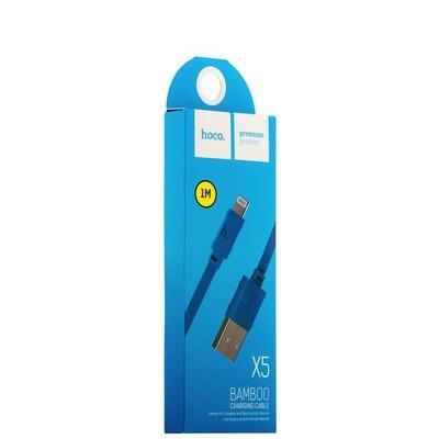 USB дата-кабель Hoco X5 Bamboo Lightning (1.0 м) Голубой - фото 18507