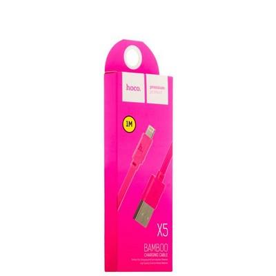 USB дата-кабель Hoco X5 Bamboo Lightning (1.0 м) Розовый - фото 18508
