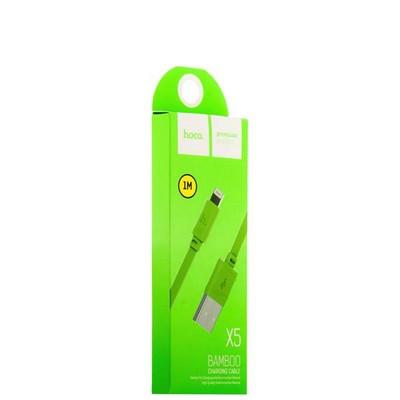USB дата-кабель Hoco X5 Bamboo Lightning (1.0 м) Зеленый - фото 18510