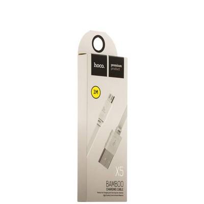 USB дата-кабель Hoco X5 Bamboo MicroUSB (1.0 м) Белый - фото 18512