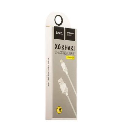 USB дата-кабель Hoco X6 Khaki Lightning (1.0 м) Белый - фото 18517