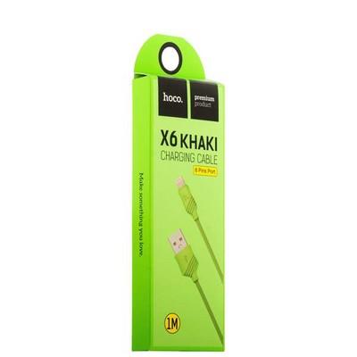 USB дата-кабель Hoco X6 Khaki Lightning (1.0 м) Зеленый - фото 18519