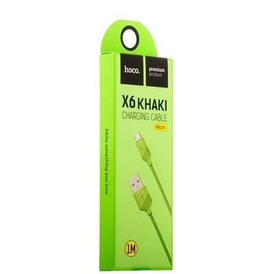 USB дата-кабель Hoco X6 Khaki MicroUSB (1.0 м) Зеленый - фото 18523