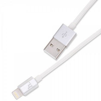 USB дата-кабель Hoco URL05 для Apple LIGHTNING (1.2 м) в тканевой оплетке с металическими наконечниками Серебро - фото 9855