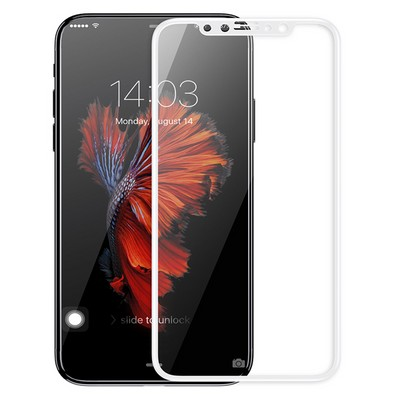 Защитное 3D стекло для iPhone X Белое - фото 9925