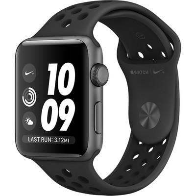 Apple Watch Series 3 Nike+ 42 мм, корпус из алюминия цвета «серый космос», спортивный ремешок Nike антрацитовый/черный - фото 10515