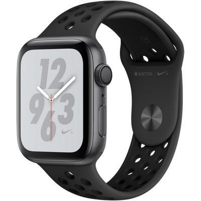 Apple Watch Nike+ Series 4, 44 мм, корпус из алюминия цвета «серый космос», спортивный ремешок Nike антрацитовый/чёрный - фото 10521
