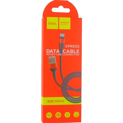 USB дата-кабель Hoco X26 Xpress charging data cable MicroUSB (1.0 м) Black & Red - фото 12129