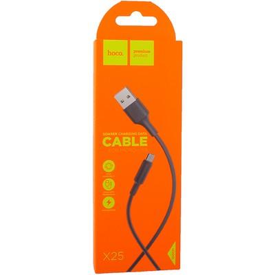 USB дата-кабель Hoco X25 Soarer charging data cable MicroUSB (1.0 м) Black - фото 12133