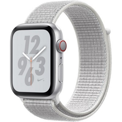 Apple Watch Series 4 44mm Silver Aluminum Case with Summit White Nike Sport Loop LTE - фото 7324