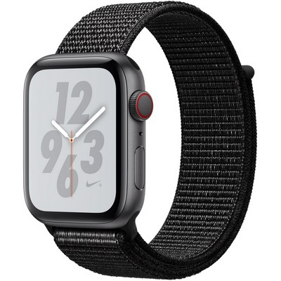 Apple Watch Series 4 44mm Space Gray Aluminum Case with Black Nike Sport Loop LTE - фото 7329