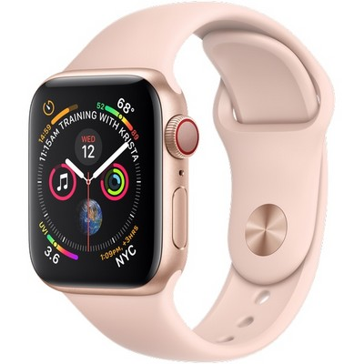 Apple Watch Series 4 40mm Gold Aluminum Case with Pink Sand Sport Band Cellular - фото 7401