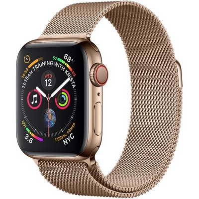 Apple Watch Series 4 40mm Gold Stainless Steel Case with Gold Milanese Loop LTE - фото 7344