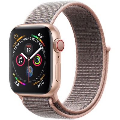 Apple Watch Series 4 40mm Gold Aluminum Case with Pink Sand Sport Loop LTE - фото 7338