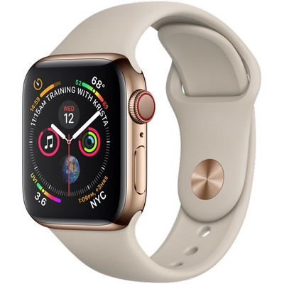 Apple Watch Series 4 40mm Gold Stainless Steel Case with Stone Sport Band LTE - фото 7341