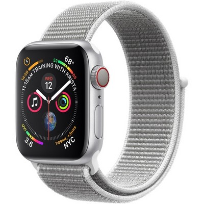 Apple Watch Series 4 40mm Silver Aluminum Case with Seashell Sport Loop LTE - фото 7335