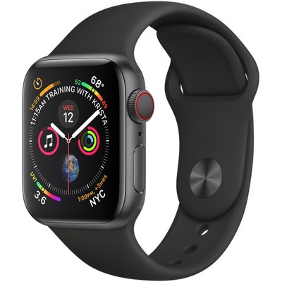 Apple Watch Series 4 40mm Space Gray Aluminum Case with Black Sport Band LTE - фото 7353