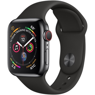 Apple Watch Series 4 40mm Space Black Stainless Steel Case with Black Sport Band LTE - фото 7347