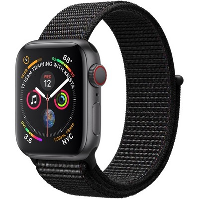 Apple Watch Series 4 40mm Space Gray Aluminum Case with Black Sport Loop LTE - фото 7356