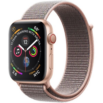 Apple Watch Series 4 44mm Gold Aluminum Case with Pink Sand Sport Loop LTE - фото 7362
