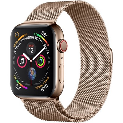 Apple Watch Series 4 44mm Gold Stainless Steel Case with Gold Milanese Loop LTE - фото 7371