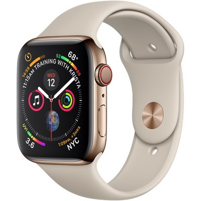 Apple Watch Series 4 44mm Gold Stainless Steel Case with Stone Sport Band LTE - фото 7368