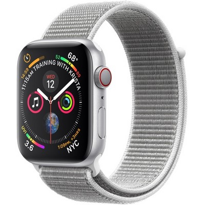 Apple Watch Series 4 44mm Silver Aluminum Case with Seashell Sport Loop LTE - фото 7377