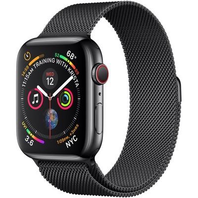 Apple Watch Series 4 44mm Space Black Stainless Steel Case with Space Black Milanese Loop LTE - фото 7383