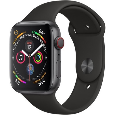 Apple Watch Series 4 44mm Space Gray Aluminum Case with Black Sport Band LTE - фото 7374